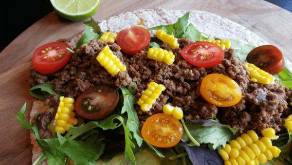 Mexicanske tortilla wraps med oksekød