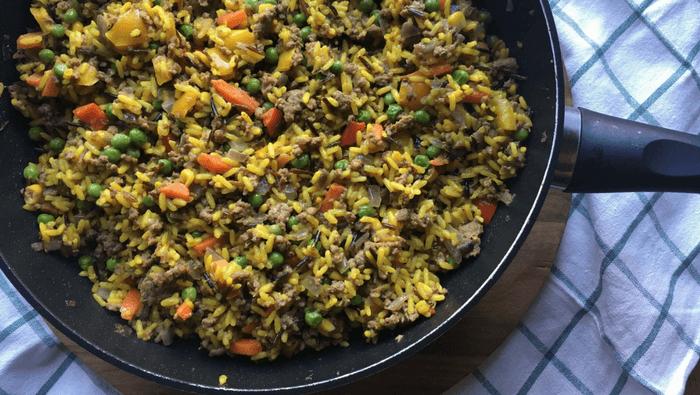 Orientalsk risret med hakket oksekød